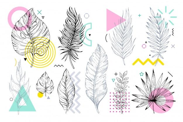 Esquisse des feuilles sertie de formes géométriques memphis. Vecteur Premium