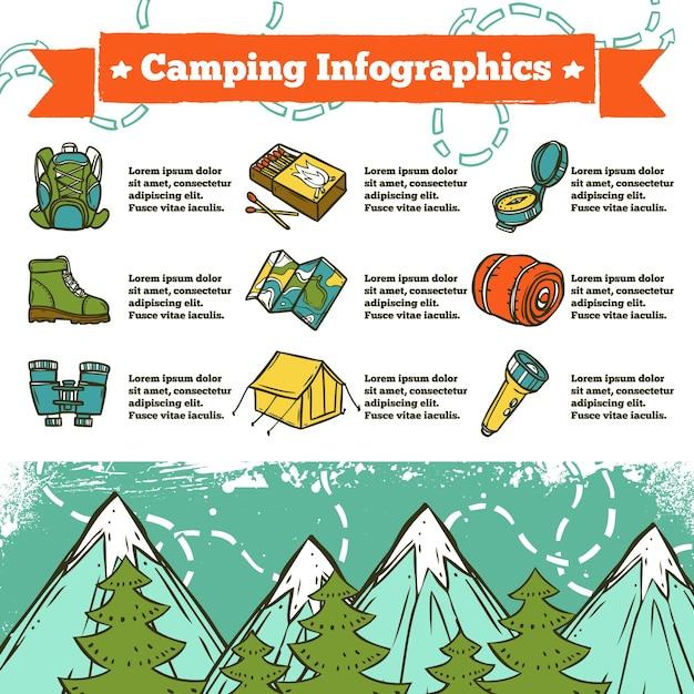 Esquisse d'infographie de camping Vecteur gratuit
