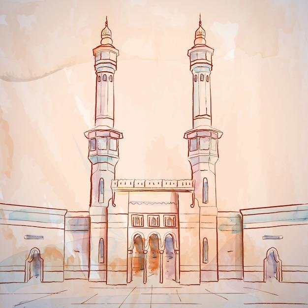Esquisse de mosquée masjid al haram à la mecque en arabie saoudite Vecteur Premium