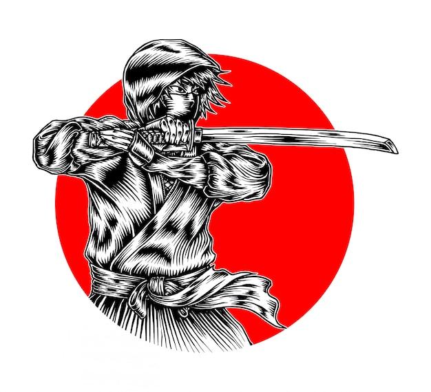 Esquisse ninja mortelle Vecteur Premium