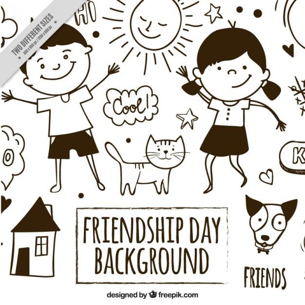 Esquisses belle amitié fond Vecteur gratuit