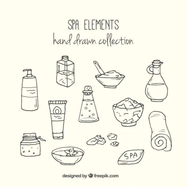 Esquisses Crèmes Spa Et éléments Vecteur gratuit