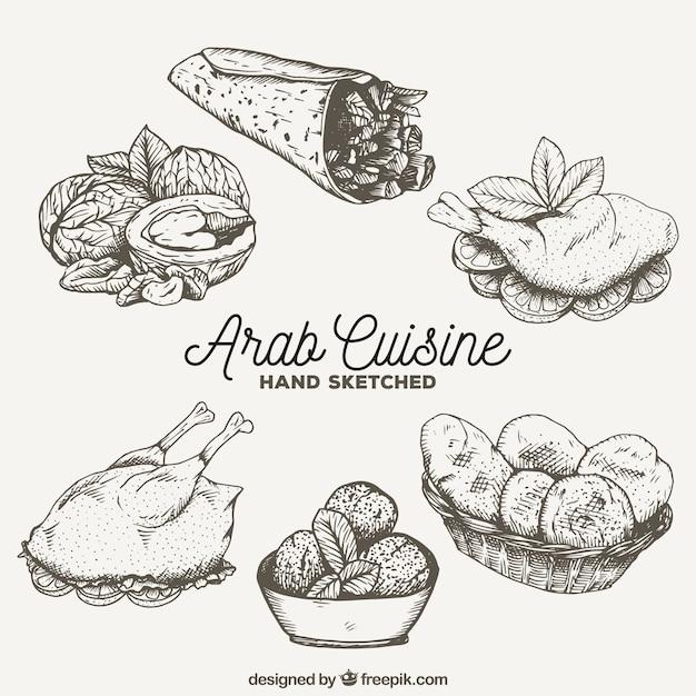 Esquisses savoureuse cuisine arab Vecteur gratuit