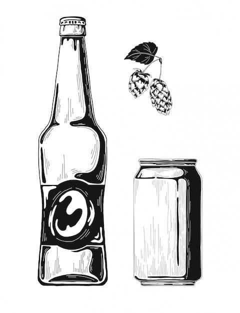 Esquissez Des Bouteilles De Bière Et Des Canettes En Aluminium. Vecteur Premium