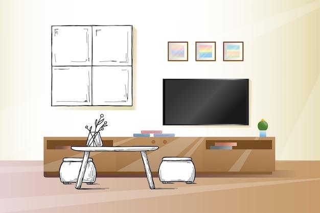 Esquissez Le Mur Sous Le Téléviseur. Illustration Vecteur Premium