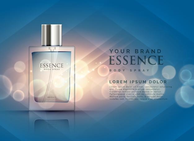 Essence annonces de parfum concept de bouteille transparent et fond lumière bokeh Vecteur gratuit