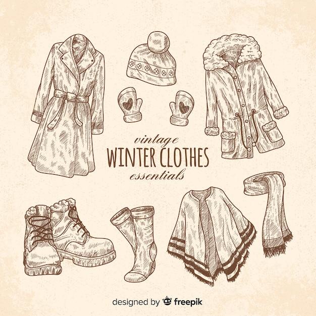 L'essentiel des vêtements d'hiver vintage Vecteur gratuit