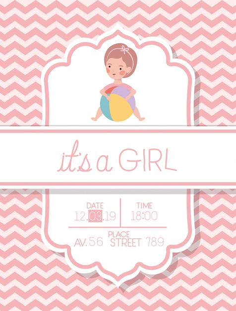 C'est une carte de douche de bébé fille avec enfant et ballon en plastique Vecteur gratuit