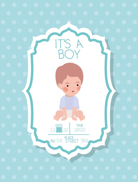 C'est une carte de douche de bébé avec petit enfant Vecteur gratuit