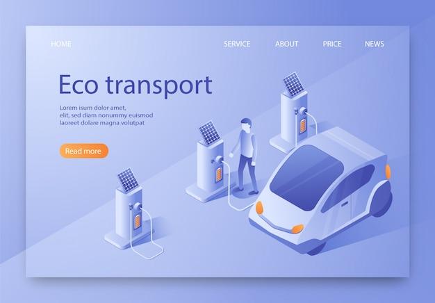Est écrit la bannière plate isométrique de transport écologique. Vecteur Premium