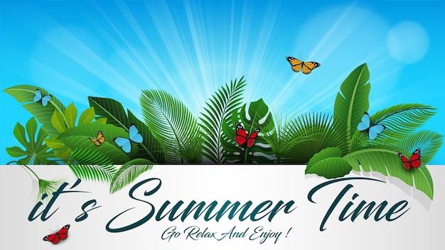 C'est l'heure d'été avec des feuilles tropicales Vecteur Premium