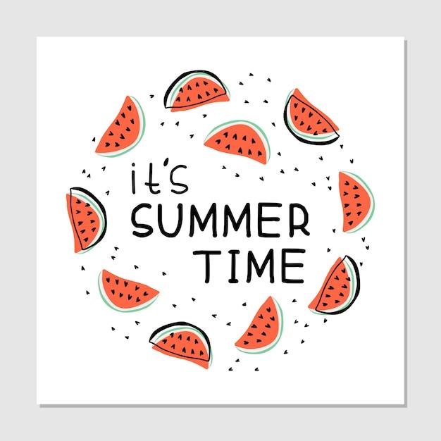 C'est L'heure D'été - Illustration Dessinée à La Main. Tranches De Pastèques, Avec Lettrage Manuscrit. Impression De Fruits Juteux Sur Fond Blanc. Cadre Rond Avec Texte. Vecteur gratuit