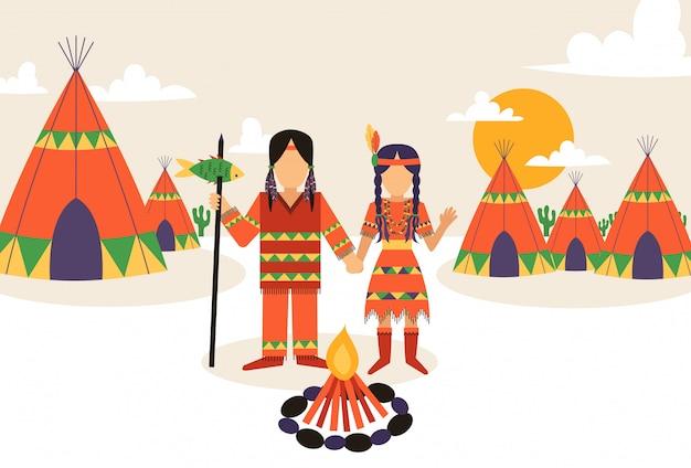 Établissement amérindien, homme et femme en costume traditionnel avec ornement ethnique, Vecteur Premium