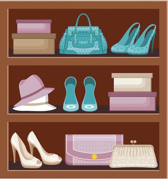 Étagère Avec Sacs Et Chaussures. Vecteur Premium