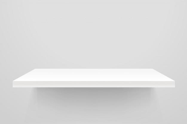 Étagère Vide Blanche Sur Un Mur Blanc. Vecteur Premium
