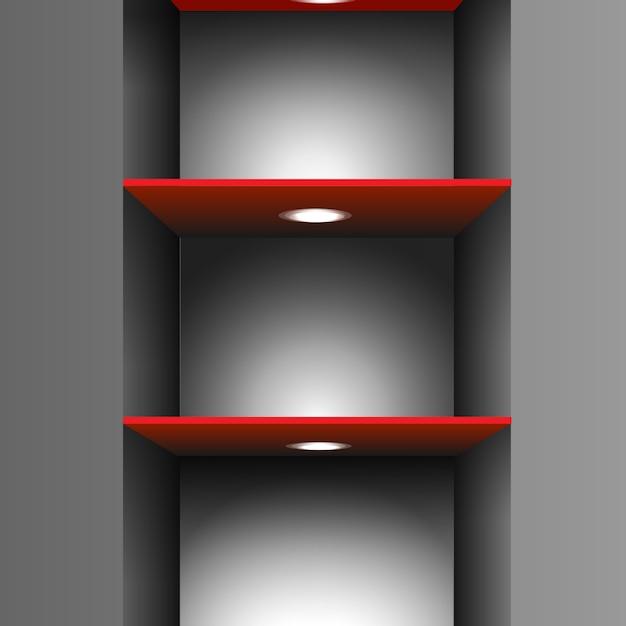 Etagère vide rouge avec éclairage Vecteur Premium