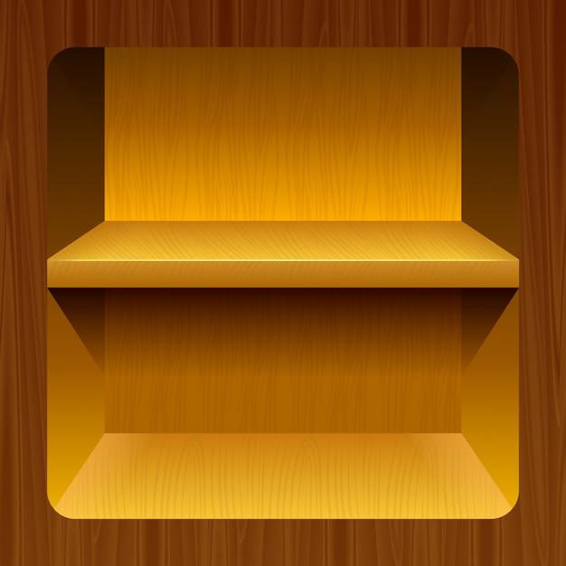 Étagères en bois pour les produits Vecteur Premium