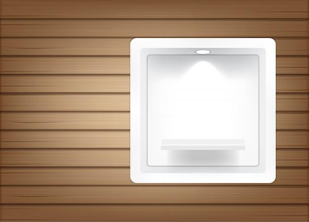 Étagères carrées vides réalistes pour l'intérieur afin de montrer les produits avec ombre et lumière Vecteur Premium