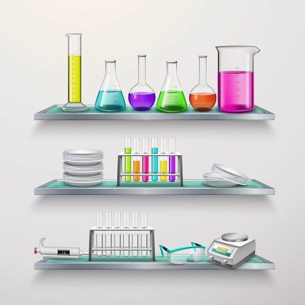 Étagères avec composition d'équipement de laboratoire Vecteur gratuit