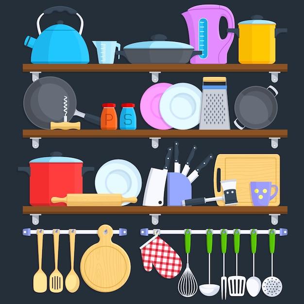 Étagères de cuisine avec ustensiles de cuisine et concept de vecteur plat pour le matériel de cuisine. Vecteur Premium