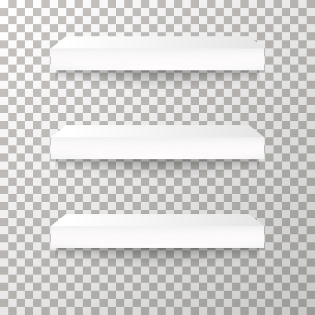 Étagères sur le fond transparent vector. Vecteur Premium