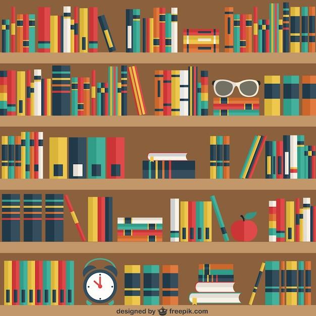 Étagères avec des livres Vecteur gratuit