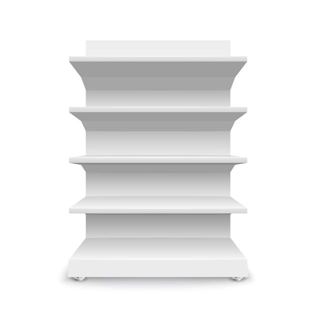 Étagères De Magasin Vides Blanches Sur Fond Blanc. Rayonnage Pour La Vente Au Détail. Modèle De Vitrine. Illustration Vecteur Premium