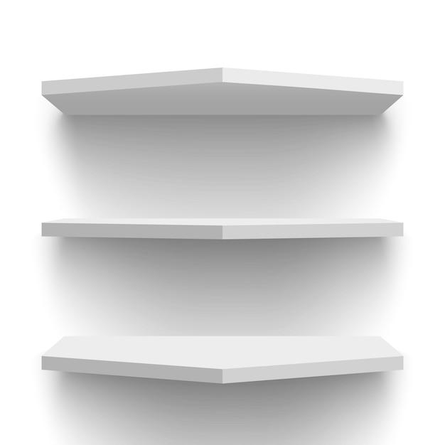 Étagères Murales Blanches. Illustration. Vecteur Premium