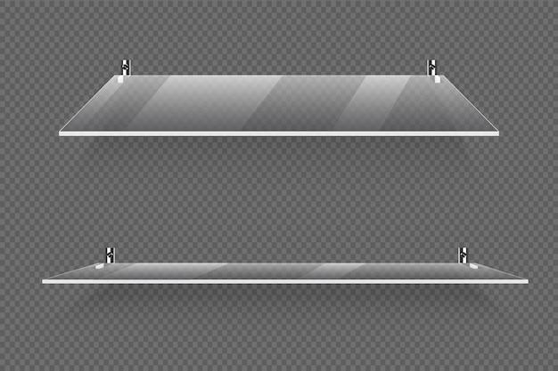 Étagères en verre transparent Vecteur Premium