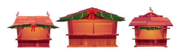 Les étals Du Marché De Noël, Kiosques De Festival En Bois à Vendre De La Nourriture Vecteur gratuit