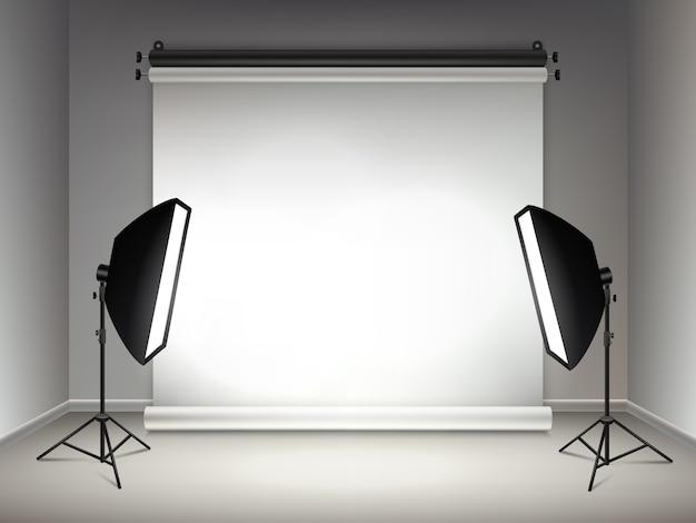 Étape Brillante. Effets D'éclairage Et De Lueur Des Projecteurs Softboxes Lampes Et Projecteurs Fond Réaliste Vecteur Premium