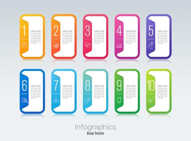 Étape infographie Vecteur Premium