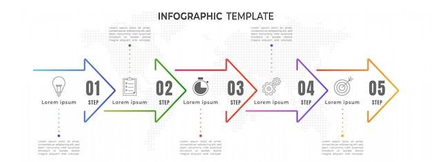 Étape Infographique De La Chronologie Des Flèches Minimales Vecteur Premium