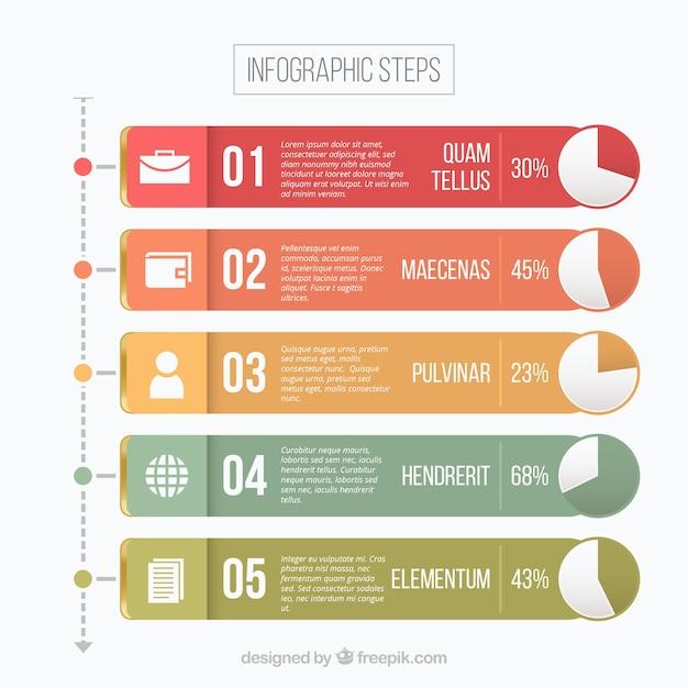 Étape infographique Vecteur gratuit