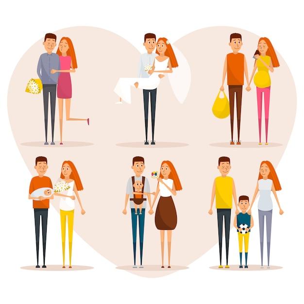 Étapes de l'affiche de concept de vie familiale. personnages de dessin animé de vecteur dans la conception de style plat. Vecteur Premium