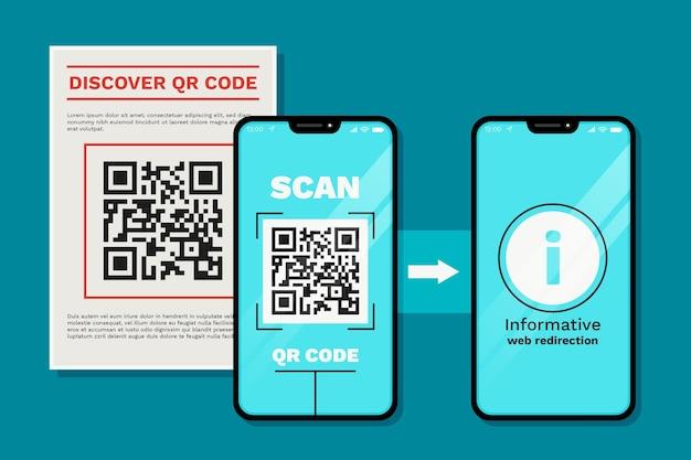 Étapes De L'analyse Du Code Qr Sur Smartphone Vecteur gratuit