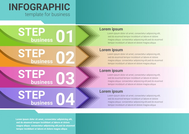 Les étapes commerciales vers le succès données infographiques Vecteur Premium
