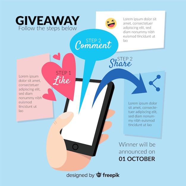 Étapes de concours de médias sociaux avec design plat Vecteur gratuit