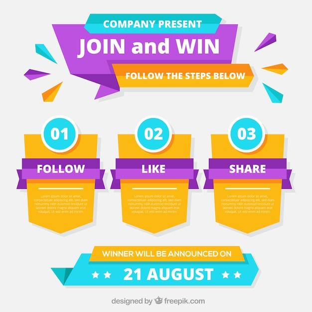 Les étapes du concours de médias sociaux Vecteur gratuit
