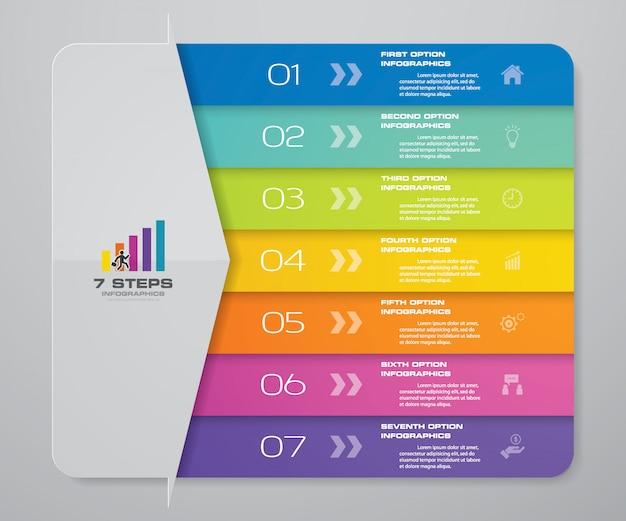 Étapes flèche graphique infographie pour la présentation. Vecteur Premium