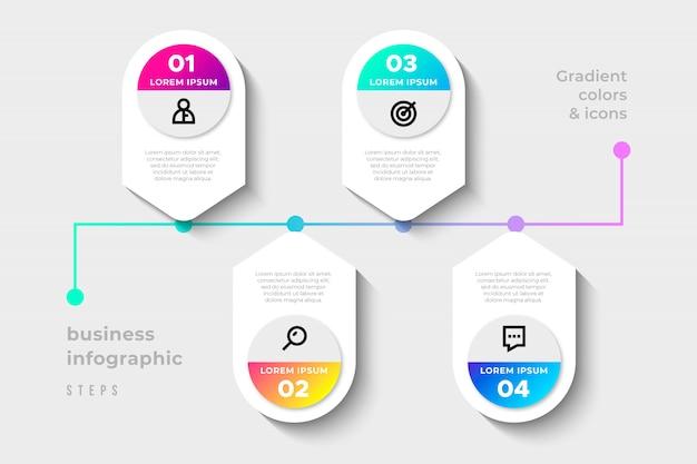 Étapes d'infographie d'affaires moderne avec dégradé de couleurs Vecteur gratuit