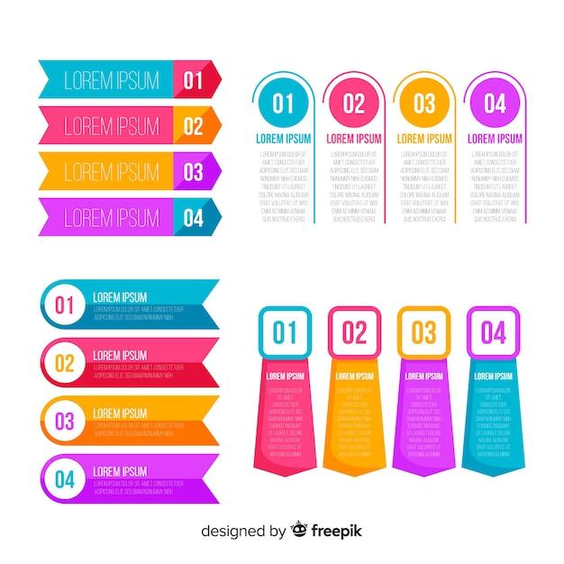 Étapes d'infographie de conception plate Vecteur gratuit