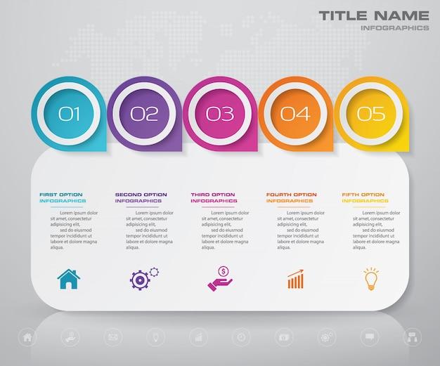 Étapes infographie graphique de l'élément. Vecteur Premium