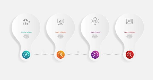 Étapes De L'infographie Horizontale Abstraite Pour Les Affaires Et La Présentation Vecteur Premium