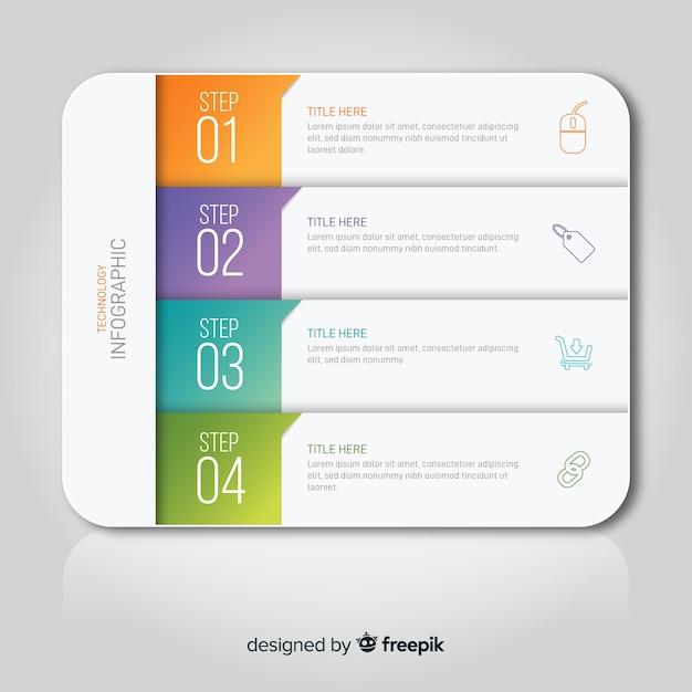 Étapes D'infographie De Modèle De Dégradé Vecteur gratuit