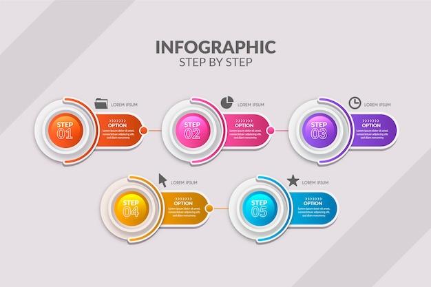 Étapes infographiques colorées en dégradé Vecteur gratuit
