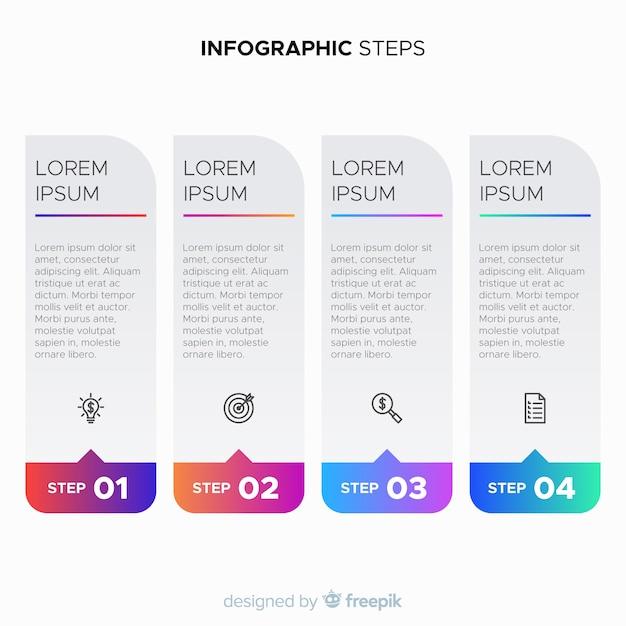 Étapes infographiques de dégradé Vecteur gratuit