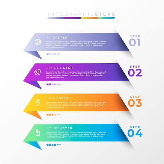 Étapes Infographiques Dégradées Vecteur Premium