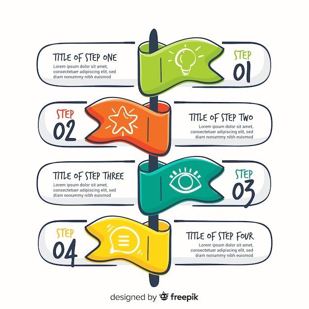 Étapes infographiques dessinés à la main Vecteur gratuit