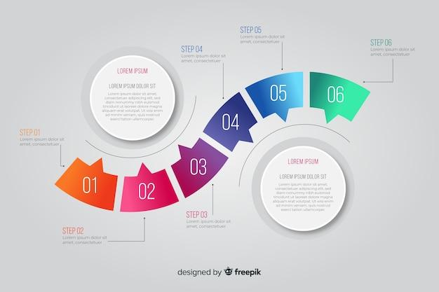 Étapes infographiques avec des formes arrondies Vecteur gratuit